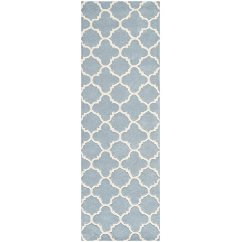 Safavieh Chatham Collection CHT717B Handmade Blue and Ivory Wool Runner, 2 feet 3 inches by 7 feet (2'3