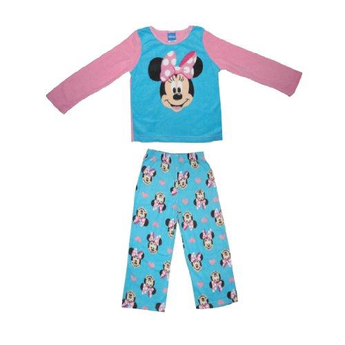 2 PCS SET: DISNEY MINNIE MOUSE Girls Fleece Sleepwear Pajama Long Sleeve Top & Pants Set