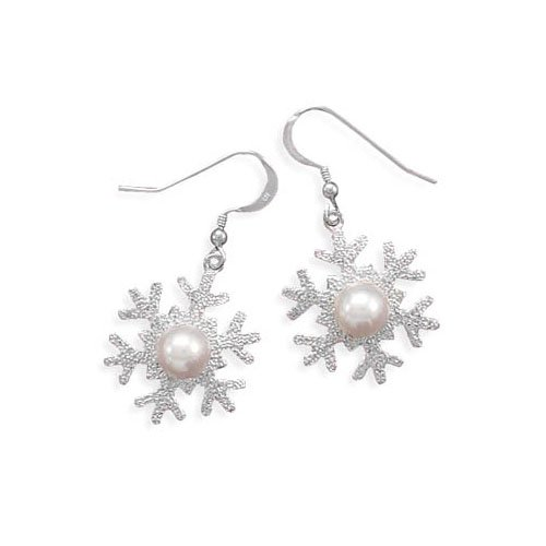 Rhodium Plated Sterling Silver Snowflake with Shell French Wire Earrings