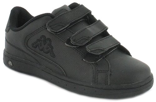 Boys/Childrens Black Kappa Trainers With Kappa Logo To Side - Blk/Charcoal/Black - UK 11-2