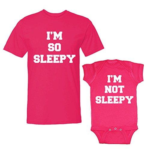 We Match! I'M So Sleepy & I'M Not Sleepy Adult T-Shirt & Baby Bodysuit Set (6 Months Bodysuit, Adult T-Shirt Xl, Hot Pink) front-600732