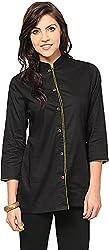 Vedanta Women's Regular Fit Cotton Kurta (KICCFO613G-BLACK-M, BLACK, Medium)