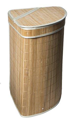 Dwellbee 17 gallon Tres Bamboo Corner Laundry Hamper, 23.5