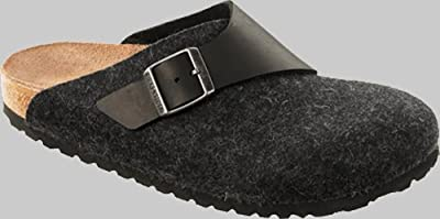 Birkenstock Clogs ''Basel'' from Leather/Wool in Black/Anthrazit with a regular insole