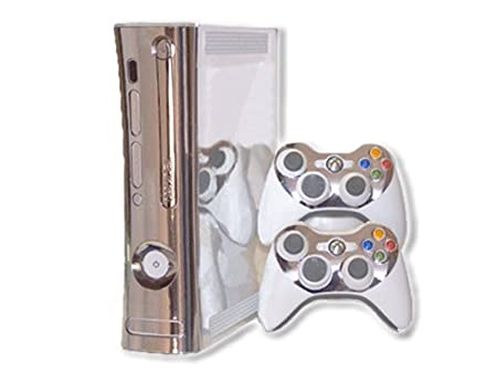 Xbox 360 Skin - NEW - SILVER CHROME MIRROR system skins faceplate decal mod