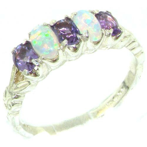 Solid English Sterling Silver Natural Amethyst & Fiery Opal Vintage Style Ring - Size 11.75 - Finger Sizes 4 to 12 Available - Suitable as an Anniversary ring, Engagement ring, Eternity ring, or Promise ring