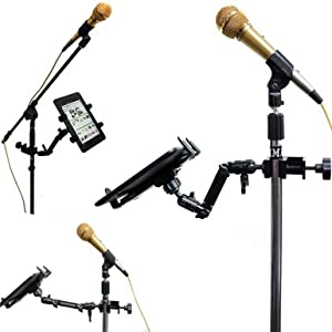 ChargerCity Heavy Duty 4-WAY Multi Adjustable Joint Aluminum Alloy Pole/Bar Clamp Mount for Podium Orchestra Music Mic Microphone Stand with Universal Spring Loaded Tablet holder compatible w/ Apple iPad 5 4 3 2 Air Mini Samsung Galaxy Note Pro Amazon Kin