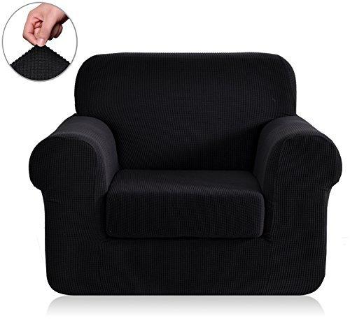 Chunyi 2-Piece Jacquard Polyester Spandex Sofa Slipcover (Chair, Black)