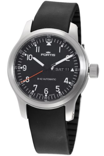 Fortis Men's 645.10.11 K B-42 Pilot Professional Black Automatic Date Rubber Watch