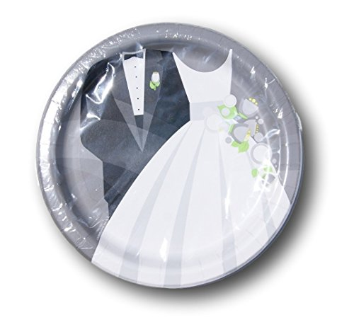 Bride and Groom Wedding Party Supply Kit - Plates and Napkins