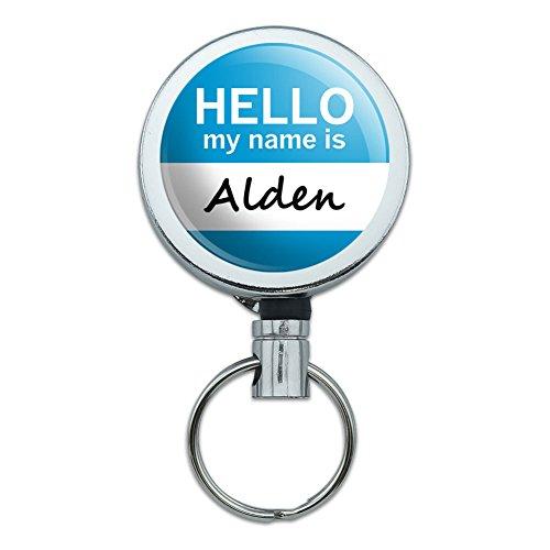 Metal Retractable Reel ID Badge Key Holder with Belt Clip Hello My Name Is AA-AM - Alden