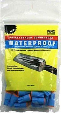 King Safety Products 62125 Waterproof Wire Connectors, Aqua / Orange, 25-Pack