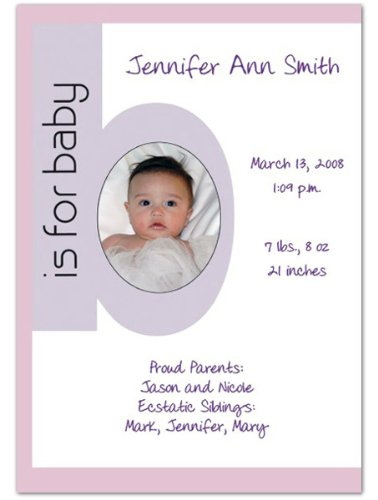 Baby Girl Photo Birth Announcements front-598036