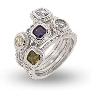 Five Band CZ Stackable Ring Set Size 8 (Sizes 5 6 7 8 9 10 Available)