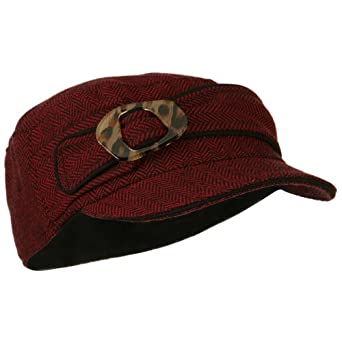 Wool Blend Herringbone Military Cap - Red OSFM