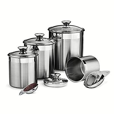 Tramontina Gourmet 8-Piece Stainless Steel Covered Canister and Scoop Set