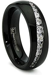 7MM Black Stainless Steel Ring With Graduated Cubic Zirconia Sizes 8 to 12