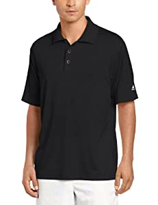 adidas Golf Men's Climacool Diagonal Textured Solid Polo Shirt, Black/Coyote, Small