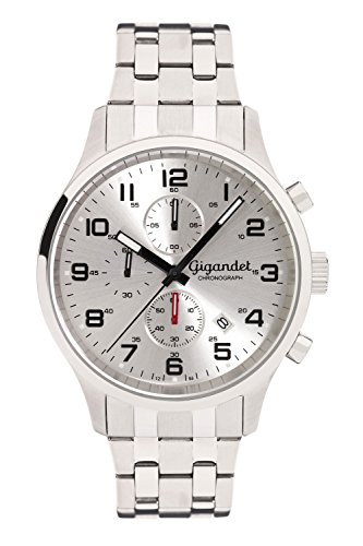 Gigandet Reloj de Hombre Cuarzo Red Touch Cronógrafo Analógico Correa de Acero Plata G51-004