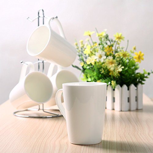 Kicode Tusy Coffee Cups and Chrome Rack Sets High Quality Fine Porcelain (White Coffee Mug Set compare prices)
