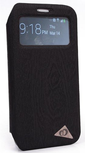 Black S-View Eco like Flip Cover Folio Case