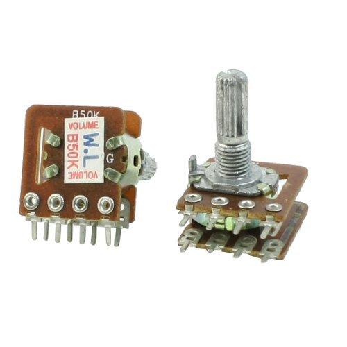 2 Stück Rändelmutter Shaft Dual Taper Linear Potentiometer B50K 50 k ohm