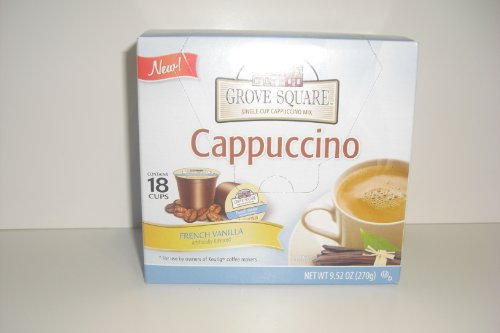 GROVE SQUARE SINGLE CUP CAPPUCCINO MIX- FRENCH VANILLA - CONTAINS 18 CUPS FOR KEURIG COFFEE MAKERS NET WT 9.52 OZ
