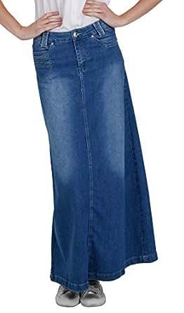 Denim Long Skirt - Stonewash - Full Length - Blue (SKIRT35) Amazon.co.uk Clothing