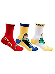 Bonjour Kids Cotton Crew Length Multicolor Pack of 3 Pairs Ben10 Socks (04(8-11 Years))