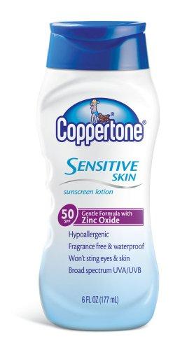 Coppertone Sensitive Skin Body Lotion Spf 50, 6-Ounce Bottles (Pack Of 3)