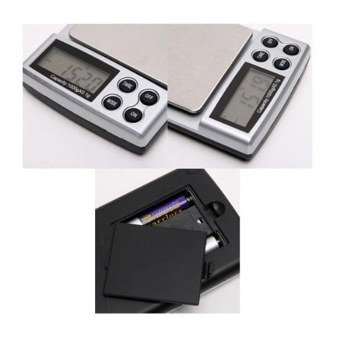 Computer & Hi-Fi numérique avec Solution et de haute précision bijoux cuisine et pâtisserie, gâteaux, les ingrédients alimentaires, mini, pesée mesure 1000 X 0,1 g, 1 kg, Diamant, Portable, poche