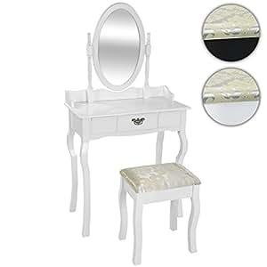 Miadomodo - Coiffeuse blanche au style victorien avec tabouret, miroir iclinable et tiroir - DEUX COLORIS AU CHOIX