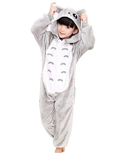 Kiddom Children's Kigurumi Pajamas Flannal Thick Warm Kids Costume Animal Pyjamas Totoro,XXL(Height 53.14