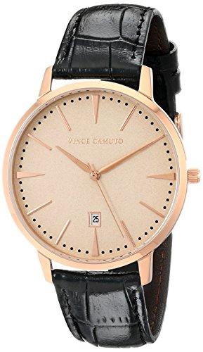 Vince Camuto VC/1073LRRG - Reloj unisex, correa de cuero color negro