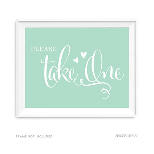 Andaz Press Wedding Party Signs, Mint Green, 8.5x11-inch, Please Take One, 1-Pack