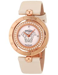 Versace Women's 79Q81SD497 S002 Eon Two Rings 40-Diamond Satin Mother-Of-Pearl Rose-Gold Plated Watch