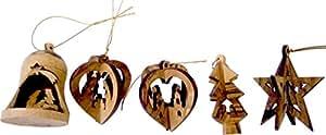 "Wood Ornaments - 3D mix of 5 (3"" each)."