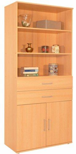 6-6-1751-Schranksystem-buche-dekor-Regalschrank-Schubladenschrank-80cm-breit-Mehrzweckschrank-made-in-BRD-Kommode-Schubladenkommode