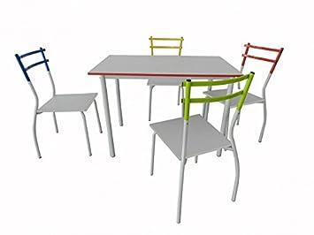 Esszimmertisch- Set 'Kiel' Kuchentisch Metallgestell Weiss
