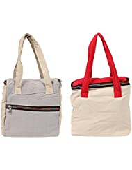 VS Exporrts Cotton 6 Liters Multi-Color Lunch Bag (Combo Of 2)