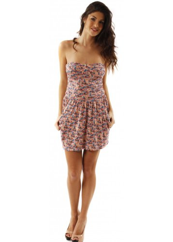 House Of Dereon Dress Floral Pink Bandeau Jersey