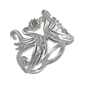 Lord Of The Rings - Elvish Ring Swan With Heart - 925 Sterling Silver - Cubic Zirconia - Size K