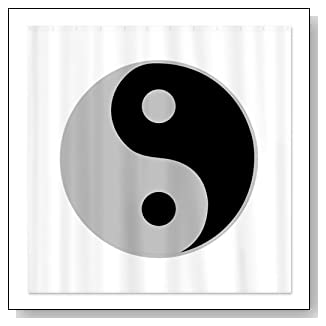 Silver Yin Yang Yoga Shower Curtain by CafePress