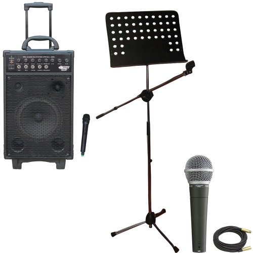 Pyle Speaker, Mic, Cable And Stand Package - Pwma1050 800 Watt Vhf Wireless Battery Powered Pa System W/Echo/Ipod/Mp3 Input Jack - Pdmic58 Professional Moving Coil Dynamic Handheld Microphone - Pmsm9 Heavy Duty Tripod Microphone And Music Note Stand - Ppm