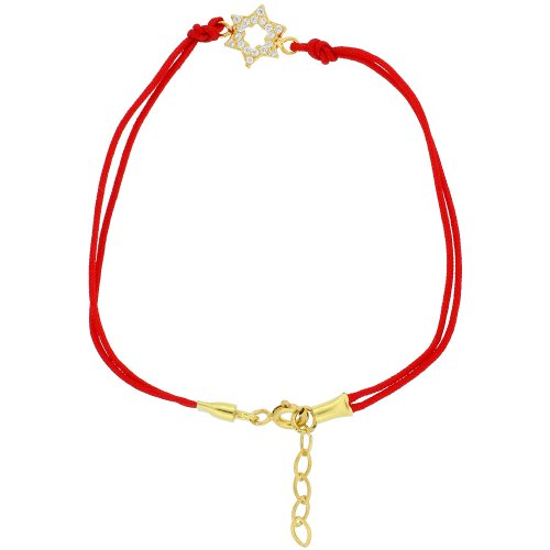 6.5 in. Red Silk Bracelet w/ Sterling Silver (Gold Plated) Jeweled Star of David Charm, w/ 1 in. Extension