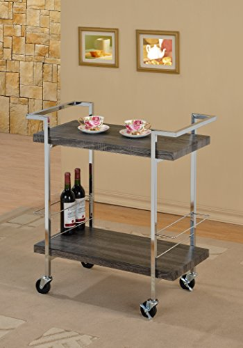 Weathered Grey Wood Look Chrome Metal Bar Tea Wine Holder Serving Cart (Bar Cart Wood compare prices)