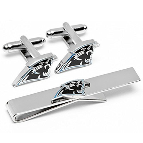NFL rugby Star Jewelry Cufflinks Tie clips Set,Carolina Panthers Cut Out Logo Cuff Link, Silver