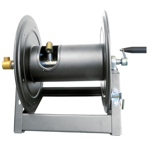 General-Pump-DHRA50300-38-x-300-Charcoal-Grey-Steel-Hose-Reel-with-Flat-Sidewalls-A-Frame-Pin-Lock-Brake-and-Stainless-Steel-Swivel-Inlet-5000-PSI