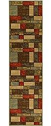 Ottomanson Ottohome Collection Multi Color Contemporary Boxes Design Runner Rug With Non-Skid Rubber…