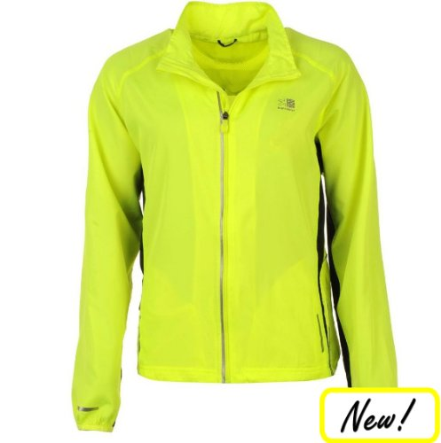 Hi Viz Sports Jacket for Women by Karrimor. Yellow and Reflective. Cycling Running Training. Showerproof, Breathable Design.